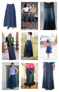 There are so many cute and stylish ways to wear a denim skirt! Here are just some examples, and if you click through I'll share even more ways to style a denim skirt!