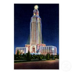 Baton Rouge Louisiana State Capitol at Night Print