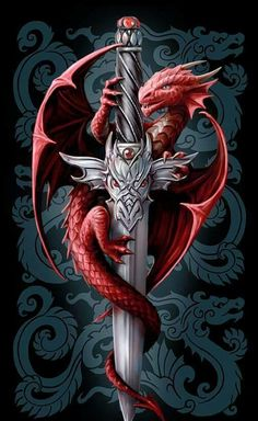 """""""The Dragon and the Sword"""" Artwork by Anne Stokes Chinese Tattoo Designs, Dragon Tattoo Designs, Anne Stokes, Baby Dragon, Red Dragon, Dragon King, Magical Creatures, Fantasy Creatures, Dragon Sword"""