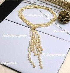 Collar Perlas De Río Auténticas, Collar Largo De Tres Hilos $1110 UN4Uo - Precio D México