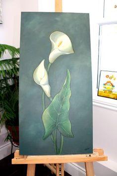 Les calas - Acrylique sur toile - 12 x 29  Inspirée de Sue Pruett