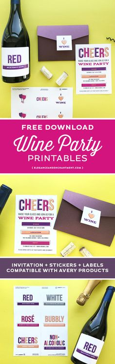 free printable wine party invitations stickers and labels