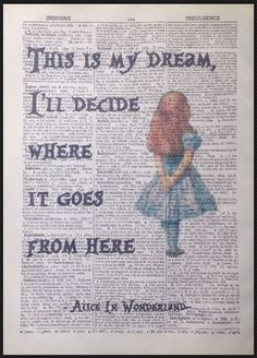 Details about Alice in Wonderland Quote Vintage Dictionary Book Page Print Wall Art Image - # . - Details about Alice in Wonderland Quote Vintage Dictionary Book Page Print Wall Art Image - Alice Quotes, Book Quotes, Image Positive, Alice And Wonderland Quotes, Alice In Wonderland Pictures, Alice In Wonderland Vintage, Wonderland Party, Tattoo Alice In Wonderland, Alice In Wonderland Bedroom