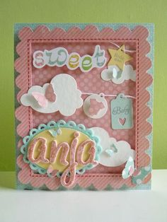 Baby girl card using MME papers and stickers and various @Papertrey Ink dies and stamps.