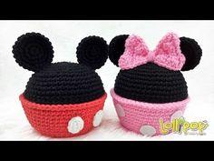 โครเชต์กล่องใส่ของมิกกี้มินนี่ น่ารัก น่าถัก! (Crochet Mickey Mouse and Minnie Mouse Bowls) - YouTube