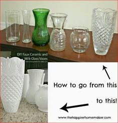 Learn how to take cheap dollar store vases and fake the look of high-end ceramic or vintage milk glass with this DIY milk glass tutorial! The post DIY White Faux Ceramic and Milk Glass Vases appeared first on Dekoration. Home Crafts, Diy Home Decor, Diy And Crafts, Diy Projects To Try, Craft Projects, Craft Ideas, Spray Paint Projects, Spray Paint Furniture, Dark Furniture