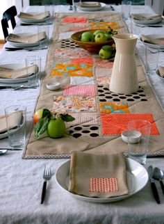 quilted table runner. Great idea because you can also remove hot pads and just use the runner to protect your table from the heat.