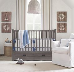 great neutral kids RH bedroom.. would transition from baby to kid easily.. love the Seagrass Market Pendant!