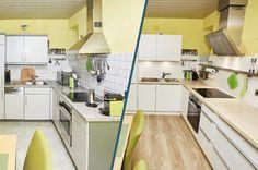 Küchenrenovierung Led Spots, Corner Desk, Modern, Kitchen Cabinets, Furniture, Home Decor, Old Kitchen, Set Of Drawers, Closet