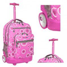 "Pink Rolling Backpack Roller Bag Wheeled School  Laptop Bookbag Trolley 15"" New  #Bookbag"