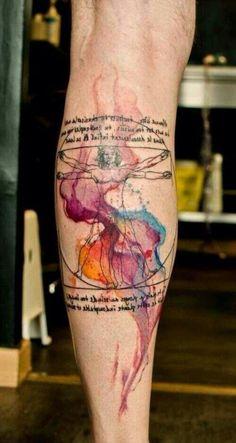 extremely good Leonardo's Vitruvian watercolor tattoo on leg - quote, geometry