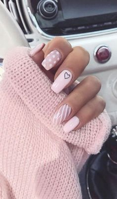 The best nail art designs for spring - romantic nail art, heart nail art designs, white nail art designs, heart tip nails , romantic nail - Acrylic Nails Coffin Short, Simple Acrylic Nails, Best Acrylic Nails, Simple Nails, Coffin Nails, Best Nails, Matte Nails, Pink Tip Nails, Pastel Pink Nails