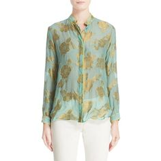 Women's Etro Floral Lame Blouse ($1,295) ❤ liked on Polyvore featuring tops, blouses, green, green floral top, floral print blouse, green top, green sheer blouse and see through tops