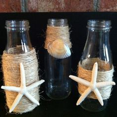My repurposed vases for my mantel. I'm so happy with the way they turned ou… – CRAFTEREST Starbucks Glass Bottle Crafts, Starbucks Crafts, Starbucks Bottles, Wine Bottle Crafts, Frappuccino Bottles, Mason Jar Diy, Mason Jar Crafts, Bottles And Jars, Milk Bottles