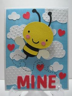 "Here is a cute little ""Bee Mine"" card..I made this card for my little nephew for Valentine's Day.  He will get a kick out of the Action W..."