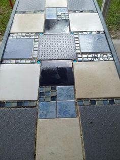 Personalized Crushed Ceramic Tile Bar Top Hangin Around The House - Ceramic tile scraps
