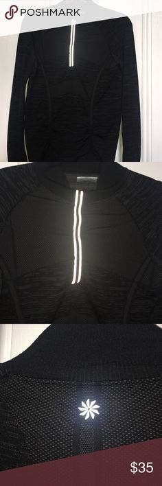 ATHLETA Black Fastest Track Half Zip Track Shirt Mint condition. I've taken very good care of it. It is an XL but I think it really fits more like a form fitting Large. Black soft wicking material with an unusual print on it.   Please make an offer if a price is too high as I'm very motivated to clear my closet out of things I CAN'T wear so I can buy a whole new wardrobe of things I can! I love Poshmark and thank you to all of the sellers I met today who accepted my offers ---this is…