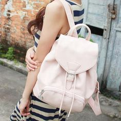 Faux Leather Drawcord Backpack from #YesStyle <3 Baobibi YesStyle.com