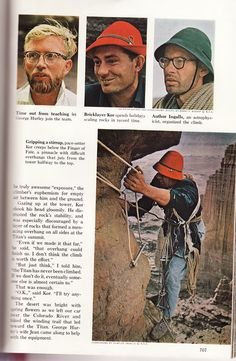 """""""Gripping a stirrup, pace-setter Kor creeps below the Finger of Fate, a pinnacle with difficult overhangs that juts from the tower halfway to the top.""""  Layton Kor on the first ascent of The Titan.    From National Geographic Magazine (November 1962) about the 1962 ascent of The Titan in Utah's Fisher Towers by Kor, Huntley Ingalls, and George Hurley."""