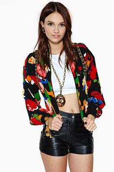Vintage Chanel Yvonna Silk Bomber Jacket