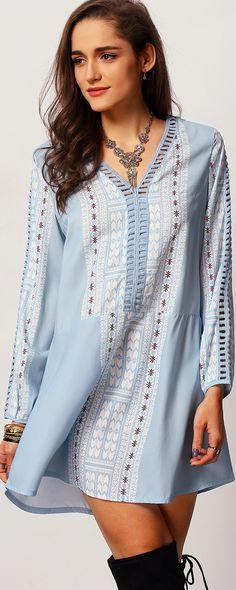 Stylish Blue Long Sleeve Vintage Print Women's Dress  SheIn Dresses | shein.com