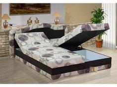 Polohovací postel s úložným prostorem v mnoha barevných variantách. Vysoké čalouněné čelo postele. Doprava po celé ČR zdarma.