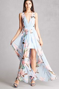 A woven maxi dress featuring an allover floral print, a plunging V-neckline, gathered waistband, self-tie crisscross back, a concealed back zipper, mini skirt underlay, and M-slit. This is an independent brand and not a Forever 21 branded item.