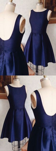 dark blue short homecoming dresses,simple stain party dress,backless prom dresses for teens,semi formal dress