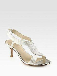 #Elie Tahari Elise Metallic Leather Sandals