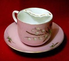 Vintage Mustache Cup Saucer Set Floral Design on Pink  — (1120x1000)