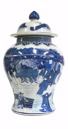 Chinese Blue & White Porcelain People Scenery Temple General Jar cs830S