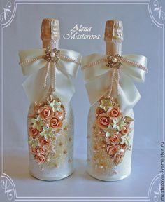 """Купить Свадебное шампанское , коллекция """" Персик и ваниль"""" - бежевый, свадебное шампанское, свадьба в персиковом"""