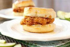 Honey butter chicken biscuits. My Trace would go NUTS for these. Think I'd make them on 7-Up biscuits though.