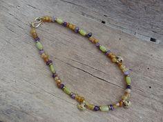 Agate, amethist and jade bead necklace with brass pendants- Jaana Hopkins- Helmien talo