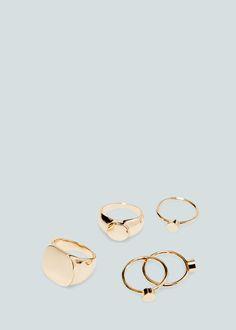 Metal ring set - Jewellery for Woman | MANGO Ukraine