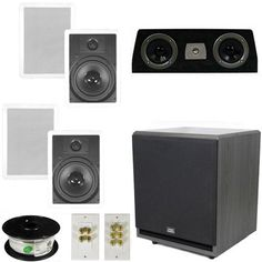 Theater Solutions 51 Home Theater 8 In Wall Speaker Set with Center 12 Powered Sub and More TS80WC51SET7 *** Learn more by visiting the image link.