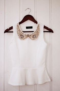 White with a little sparkle and peplum!