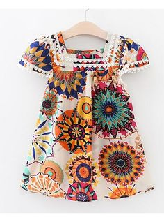 33d17c7f11c Toddler Girls  Active Daily Floral Short Sleeve Polyester Dress White