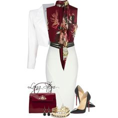 A fashion look from August 2014 featuring Erdem blouses, Yves Saint Laurent blazers y Jane Norman skirts. Browse and shop related looks.