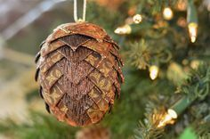 Handmade Ribbon Pinecone Christmas Ornament  Brown & Gold Fleur de Lis Ribbon Ball  One of a Kind Holiday Gift for Friend  Ready to Ship by kikiverde from Kikiverde Design Studio Find it now at http://ift.tt/2bCkhdy! #EtsyGifts #Handmade #Etsy