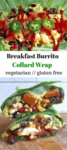 Breakfast Burrito Collard Wrap - all your breakfast favorites wrapped in a collard green for a protein packed and gluten free breakfast - Eat the Gains (Low Carb Breakfast Burrito) Breakfast And Brunch, Breakfast Burritos, Paleo Breakfast, Best Breakfast, Breakfast Options, Sausage Breakfast, Gluten Free Recipes For Breakfast, Gluten Free Breakfasts, Vegetarian Recipes