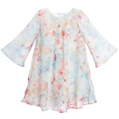 Patachou Pale Blue Floral Chiffon Dress at Childrensalon.com