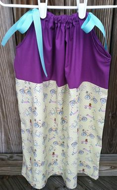 Purple Yellow and Blue Pillowcase Dress with by BowstoToesClothes