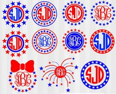 4th of July Monogram Frames SVG Bundle! Super cute to make onsies, shirts or outfits for 4th of July. svg files and dxf files. SVG files for silhouette cameo or svg files for cricut or other die cut machines. scal