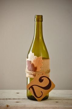 Autumn wedding table number fall wedding. Use full bottle per couple maybe wedding favor???? ASk DAD! LOL
