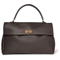 Marni Leather tote ($695) ❤ liked on Polyvore featuring bags, handbags, tote bags, dark brown, leather tote purse, leather purses, genuine leather tote, tote purses and genuine leather handbags