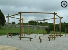 Built in trees or on poles, a professionally designed low ropes course will cater for all developmental and adventure programs. Outside Playground, Natural Playground, Backyard Playground, Backyard For Kids, Outdoor Play Structures, Outdoor Play Areas, Outdoor Fun, Outdoor Fitness Equipment, Ropes Course