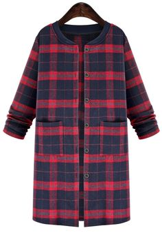 Plaid Pattern Stand Neck Long Sleeve Coat