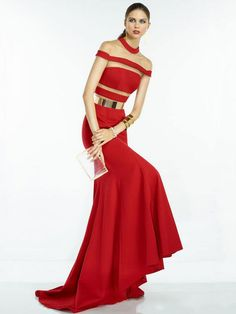 Red Maxi Dress Cut Out Striped Floor Length Party Dress With Sash