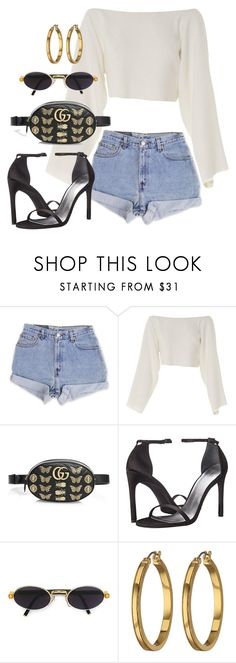 """""""Sin título #4181"""" by camilae97 ❤ liked on Polyvore featuring Levi's, CÉLINE, Gucci, Stuart Weitzman, Gianfranco Ferré and Lauren Ralph Lauren"""